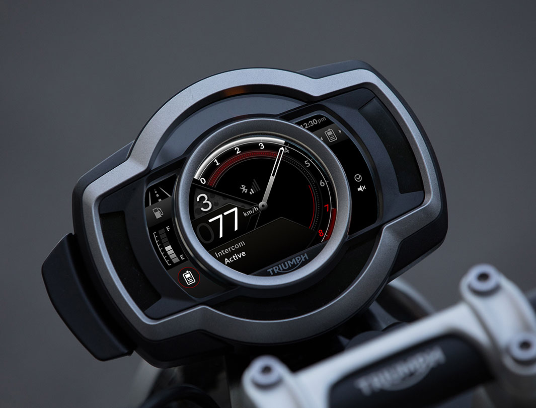 My Triumph Connectivity module displaying the Bluetooth connected and equipped headphones