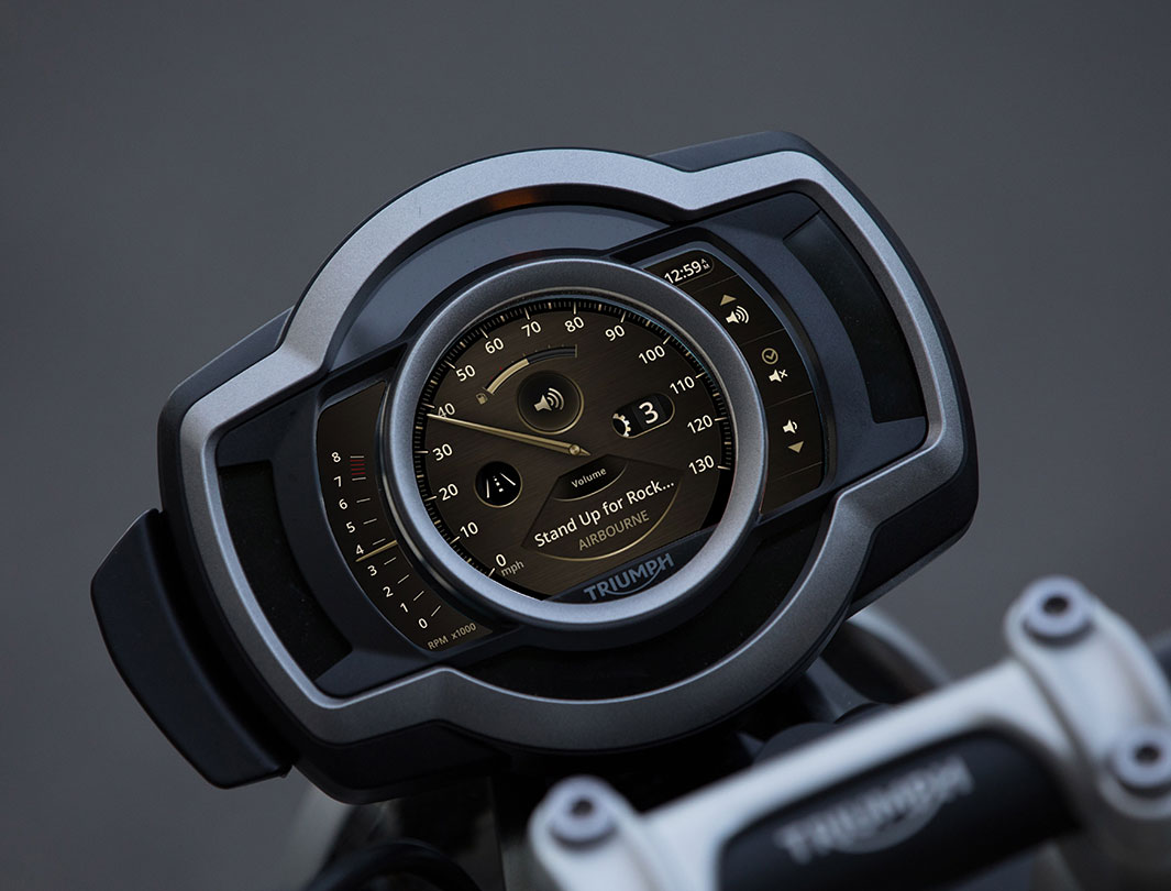 Triumph Connectivity System showing the integration music on a Scrambler 1200 display