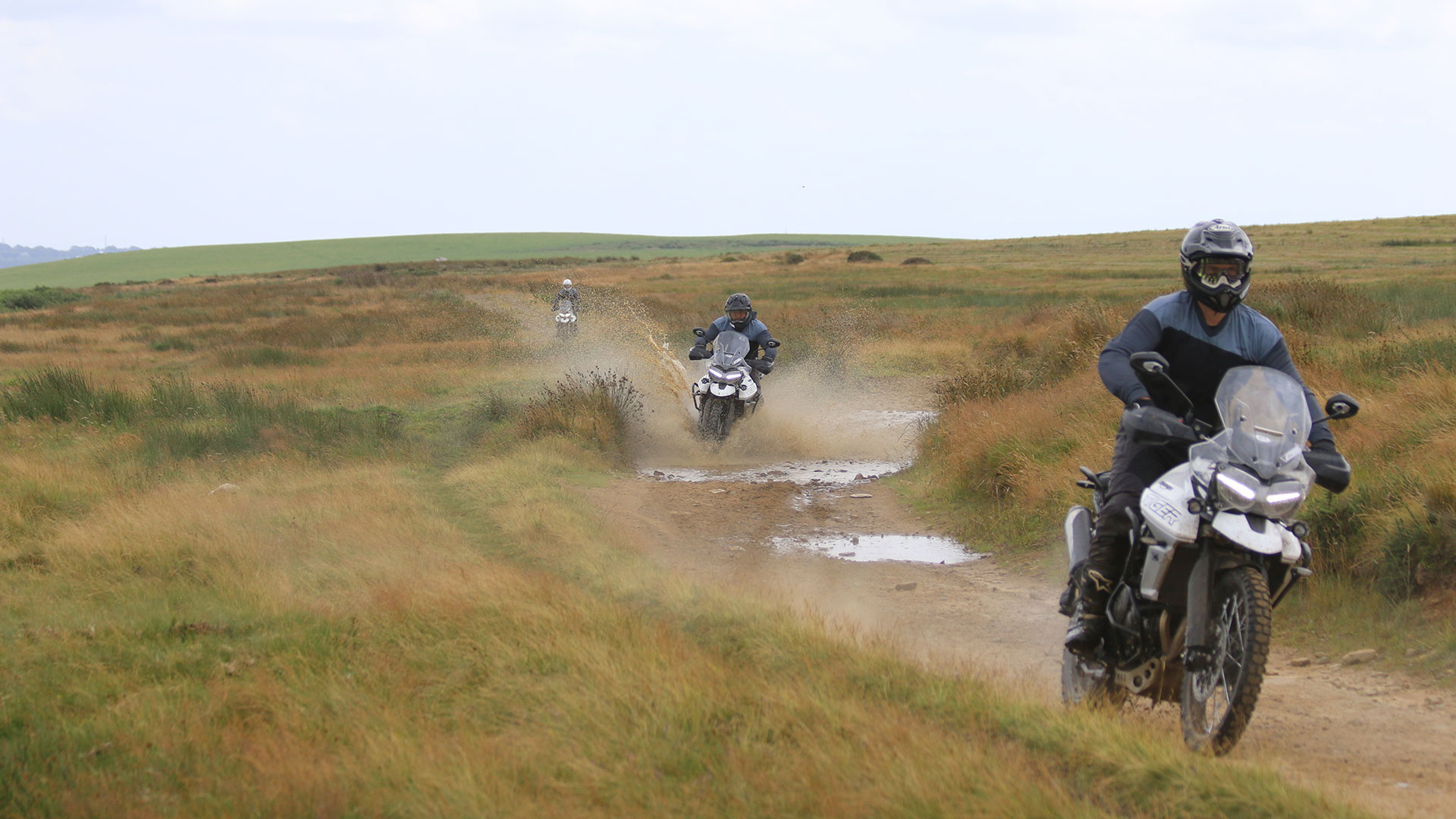 Triumph Tiger experience day with riders going through varied terrains