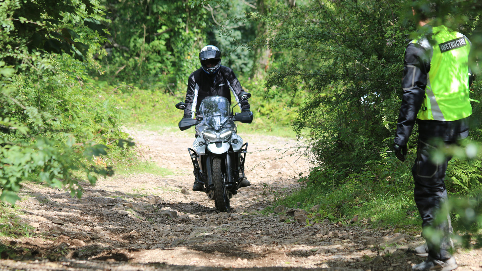 Rider receiving training on Triumph Tiger 800